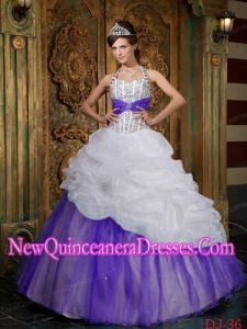 A-line Halter Beading Custom Made Quinceanera Dressess in White and Purple