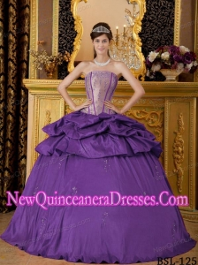 Appliqued Purple Strapless Floor-length Taffeta Classical Quinceanera Dress