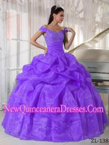 Ball Gown Off The Shoulder Floor-length Taffeta and Organza Beading Classical Quinceanera Dress in Purple