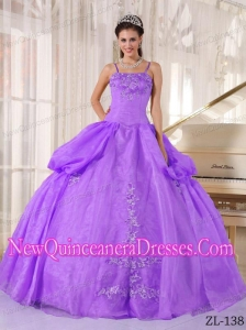 Ball Gown Spaghetti Straps Elegsnt Quinceanera Dress in Purple