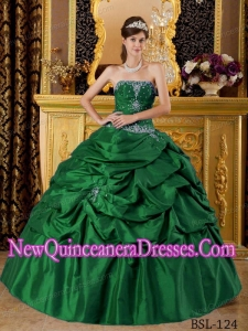 Ball Gown Strapless Taffeta Appliques Custom Made Quinceanera Dresses in Green