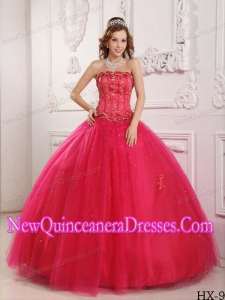 Ball Gown Strapless Tulle Beading Hot Pink Custom Made Quinceanera Dresses