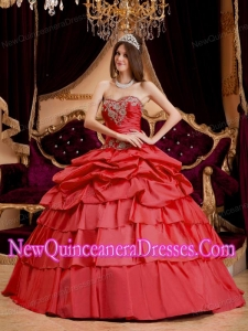 Ball Gown Sweetheart Taffeta Appliques Custom Made Quinceanera Dresses in Coral Red