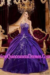 Ball Gown Taffeta and Tulle Appliques Custom Made Quinceanera Dresses in Purple