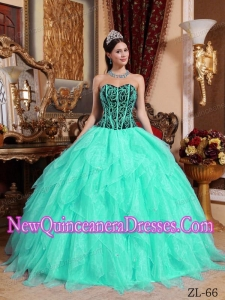Cheap Embroidery with Beading Sweetheart In Apple Green and Black Quinceanera Gowns