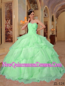 Cheap Quinceanera Dress In Apple Green Ball Gown Sweetheart Organza Beading