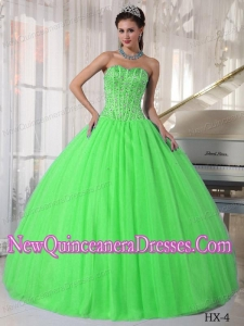 Cheap Spring Green With Sweetheart Tulle Beading Quinceanera Dress