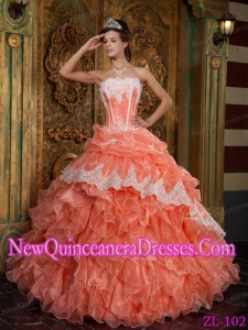 Classical Orange Red Ball Gown Strapless Ruffles Organza Quinceanera Dress