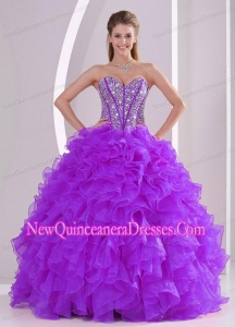 Elegant 2014 Sweetheart Luxurious Quinceanera Dress with Ruffles and Beaded Decorate