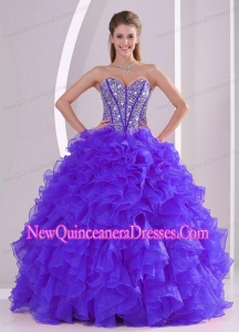 Elegant Ball Gown Sweetheart Ruffles and Beaing Quinceanera Dress in Purple