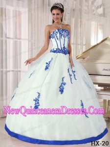 Elegant White and Blue Strapless Appliques Quinceanera Dress
