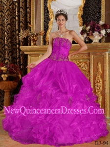 Fuchsia Ball Gown Strapless Appliques Organza Custom Made Quinceanera Dresses