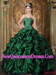 Hunter Green Picks-ups Taffeta Custom Made Quinceanera Dresses
