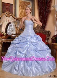 Lilac Ball Gown Sweetheart Taffeta Embroidery with Beading Cheap Quinceanera Gowns