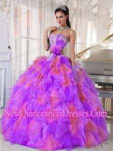Organza Appliques and Ruffles Custom Made Quinceanera Dresses in Multi-color