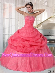 Organza Watermelon Ball Gown Strapless Floor-length Appliques Classical Quinceanera Dress