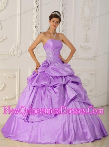 Princess Strapless Taffeta Beading Custom Made Quinceanera Dresses in Lavender