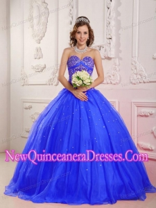 Princess Sweetheart Satin and Organza Beading Custom Made Quinceanera Dresses in Blue