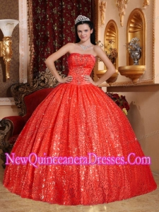 Red Ball Gown Sweetheart Beading Beautiful Quinceanera Dresses