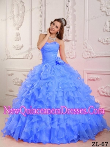 Romantic Ball Gown Sweetheart Organza Beading Custom Made Quinceanera Dresses in Blue