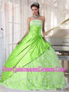 Spring Green Strapless Floor-length Taffeta Classical Quinceanera Dress with Lace