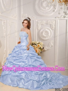 Strapless Court Train Taffeta Appliques and Beading Classical Quinceanera Dress in Lilac