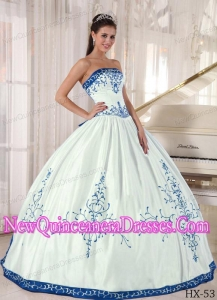 Strapless Floor-length Embroidery Classical Quinceanera Dress in White and Blue