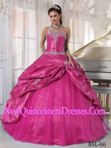 Strapless Floor-length Taffeta and Tulle Appliques Classical Quinceanera Dress in Hot Pink