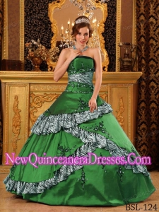 Strapless Taffeta Ball Gown Embroidery Custom Made Quinceanera Dresses in Green