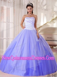 Sweetheart Affordable Ball Gown Beading Classical Quinceanera Dress in White and Blue