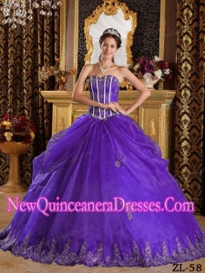 Sweetheart Floor-length Appliques Organza Custom Made Quinceanera Dresses in Purple