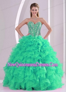 Sweetheart Ruffles and Beading Long Custom Made Quinceanera Dresses in Green