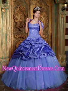 Sweetheart Taffeta and Organza Appliques Custom Made Quinceanera Dresses in Purple
