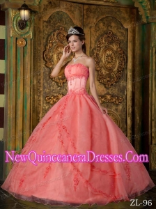 Watermelon Ball Gown Appliques Organza Custom Made Quinceanera Dresses