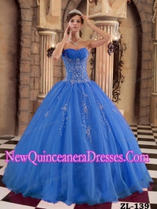 A Blue Ball Gown Floor-length Organza Beading Cheap Quinceanera Gowns