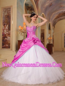 A Colourful A-Line Princess Sweetheart With Beading Tulle and Taffeta Quinceanera Dress