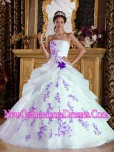 A-Line Strapless Organza Appliques Custom Made Quinceanera Dresses in White and Purple
