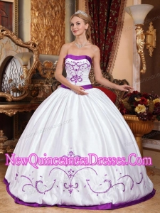 A White and Purple Embroidery Cheap Quinceanera Gowns