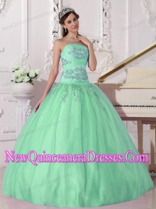 An Apple Green Strapless Taffeta and Tulle Beading Cheap Quinceanera Gowns