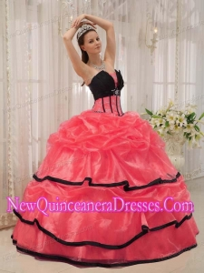 Ball Gown Beading Custom Made Quinceanera Dresses in Red and Black