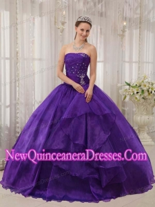 Ball Gown Organza Beading Custom Made Quinceanera Dresses in Eggplant Purple