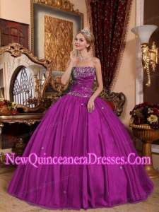 Ball Gown Strapless Floor-length Taffeta and Tulle Classical Fuchsia Quinceanera Dress with Appliques