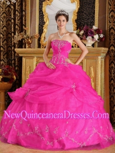 Ball Gown Strapless Organza Appliques Custom Made Quinceanera Dresse in Hot Pink