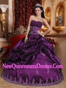 Ball Gown Sweetheart Taffeta Appliques Custom Made Quinceanera Dresses in Eggplant Purple