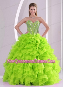 Best Seller Spring Green Sweetheart Ruffles and Beading Discount 2014 Sweet 16 Dresses
