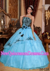 Blue and Black Strapless With Embroidery Cheap Quinceanera Gowns