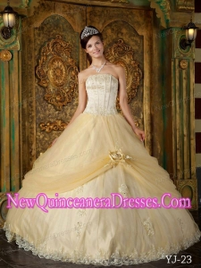 Champagne With Strapless Floor-length Appliques Tulle Cheap Quinceanera Gowns