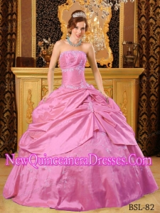 Classical Strapless Floor-length Taffeta Beading Quinceanera Dress in Hot Pink