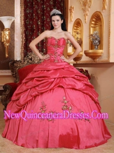 Coral Red Ball Gown Sweetheart Taffeta Appliques Classical Quinceanera Dress