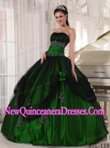 Discount Ball Gown Green and Black Strapless Floor-length Beading Sweet 16 Dresses